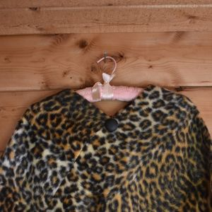Leopard Print Poncho with snakeskin lining